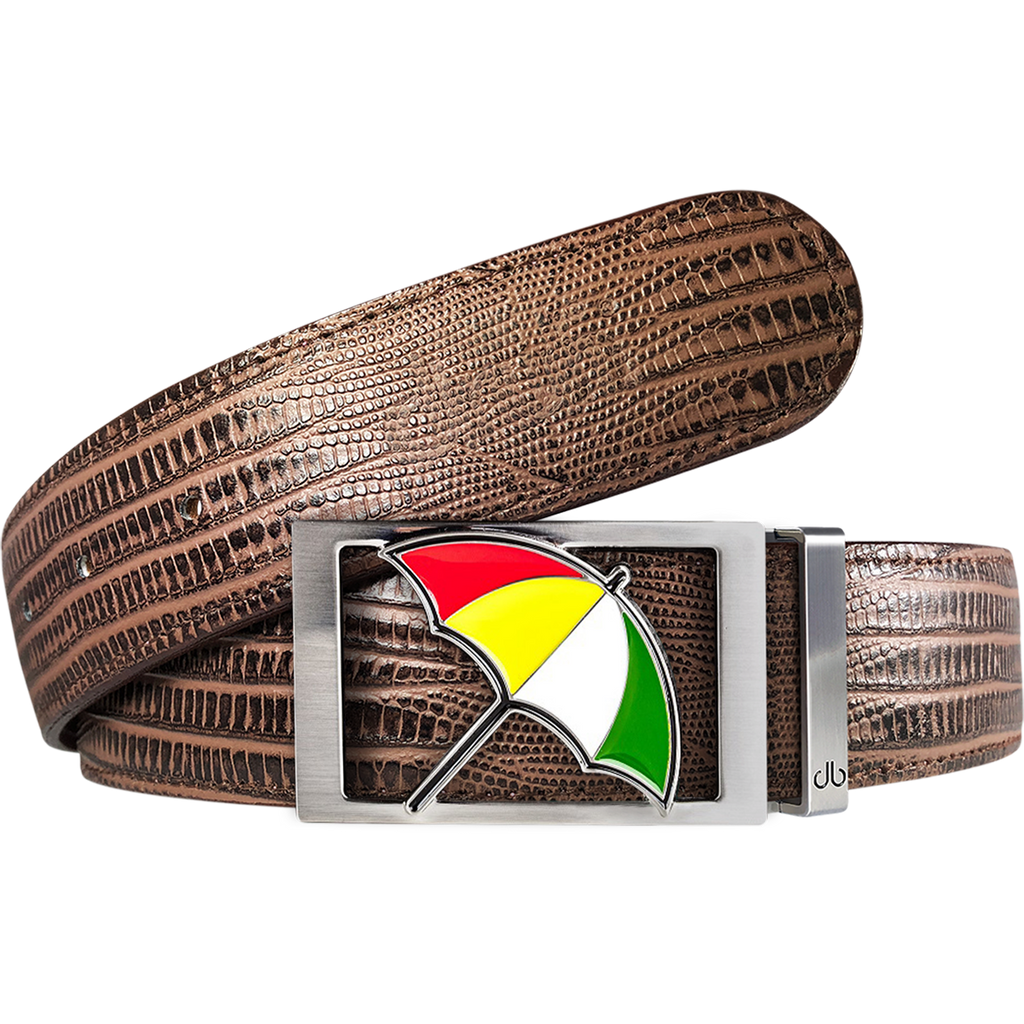 Arnold Palmer Ballmarker Buckle and Lizard Leather Belt in Brown