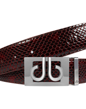 Shiny Snakeskin Texture Burgundy & Black with Silver 'db' Thru Buckle