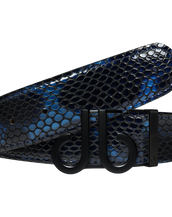 Shiny Snakeskin Texture Belt Blue & Black with Matte DB Icon Buckle