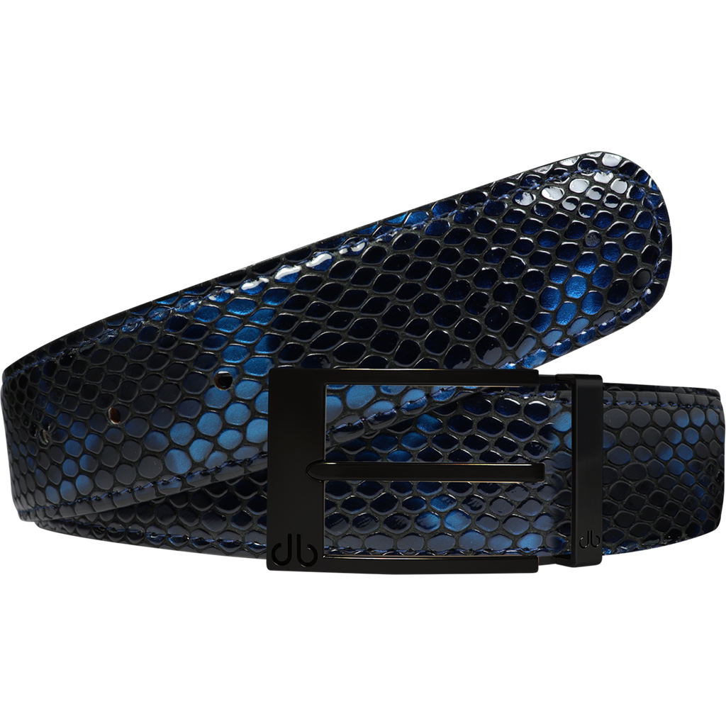 Shiny Snakeskin Texture Belt Blue & Black with Matte Prong Buckle