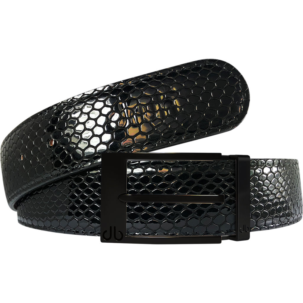Black Snakeskin Texture Leather Belt with Matte Prong Buckle