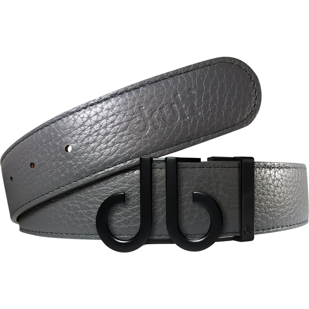 Gray Full Grain Texture Leather Belt with Matte DB Icon Buckle