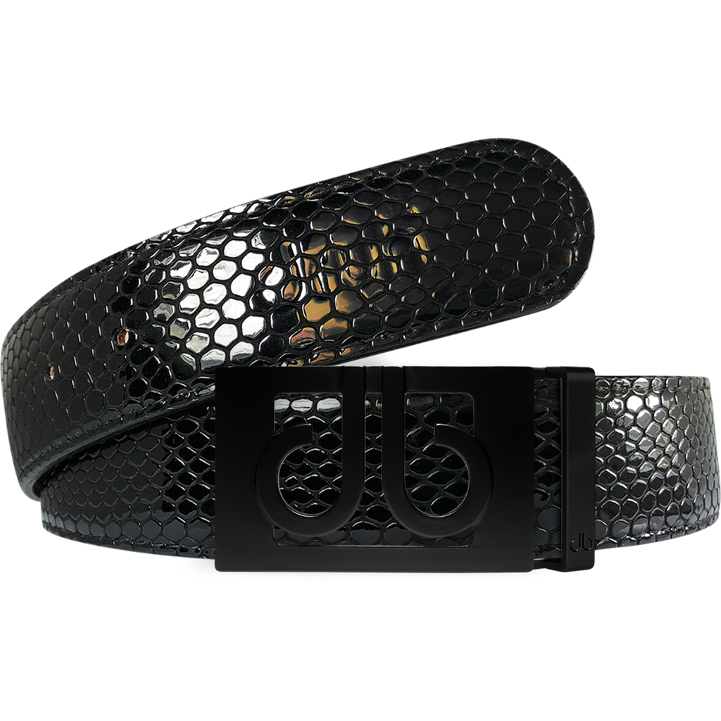 Black Snakeskin Texture Leather Belt with Matte Classic Buckle