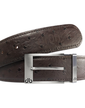 Brown Ostrich Textured Leather Belt with Prong Buckle