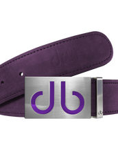Purple Plain Leather Texture Belt with Buckle