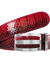 Red Real Snakeskin Leather Belt with Classic Silver Stripe Buckle