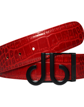 Red Crocodile Leather Belt with Classic Matte DB Icon Buckle