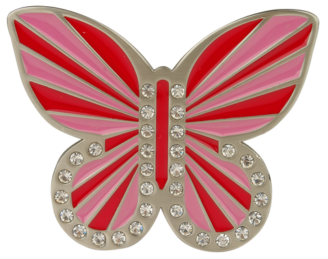 db butterfly Pink & Red Buckle - Druh Belts and Buckles UK