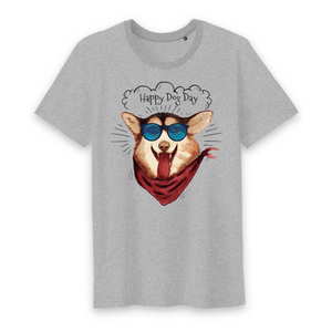 T-shirt Homme Happy Dog Day Gris - Husky Academy