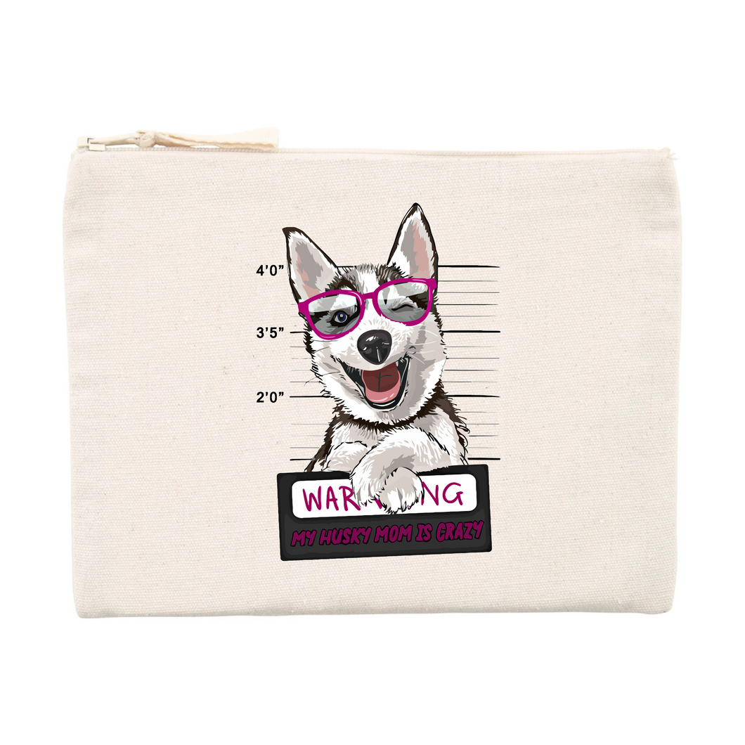Pochette Husky Warning Rose - Huskymom
