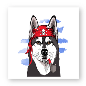 Sticker Husky Pirate Rouge - Huskymom