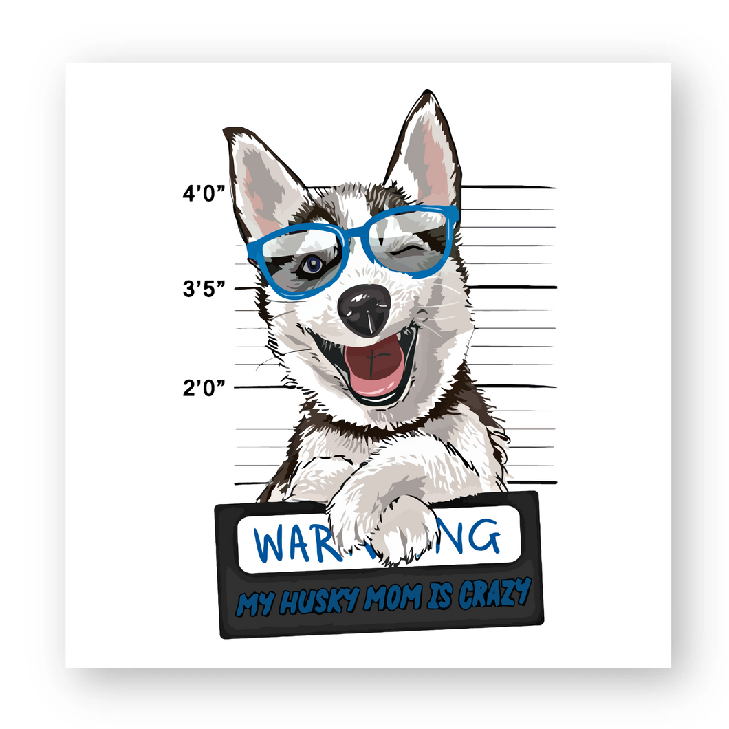 Sticker Husky Warning Bleu - Huskymom