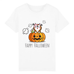 T-shirt Enfant Happy Halloween Blanc - Husky-Academy.fr