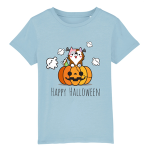 T-shirt Enfant Happy Halloween Bleu - Husky-Academy.fr