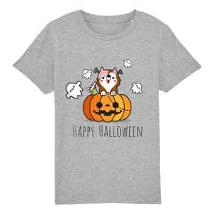 T-shirt Enfant Happy Halloween Gris - Husky-Academy.fr