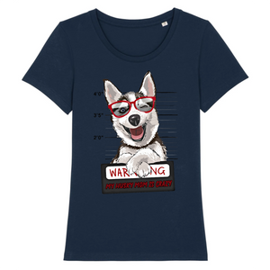 T-shirt Husky Warning Rouge - Huskymom