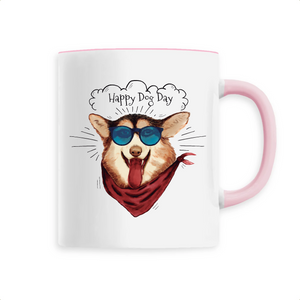 Mug Rose Happy Dog Day - Husky-Academy.fr