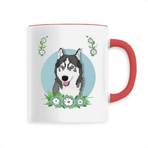 Mug Husky Flower Bleu - Unique - Huskymom