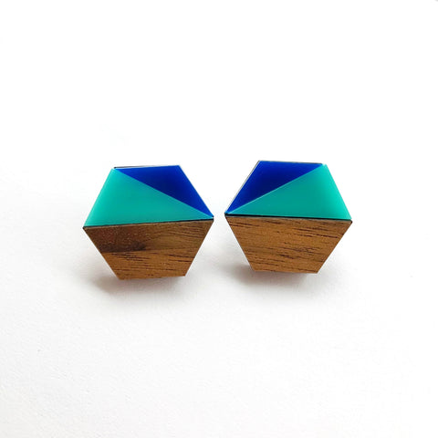 Aqua Geometric Hexagon Studs