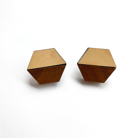 Maple & Walnut Hexagon Studs