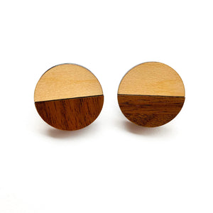 Maple & Walnut Circle Studs