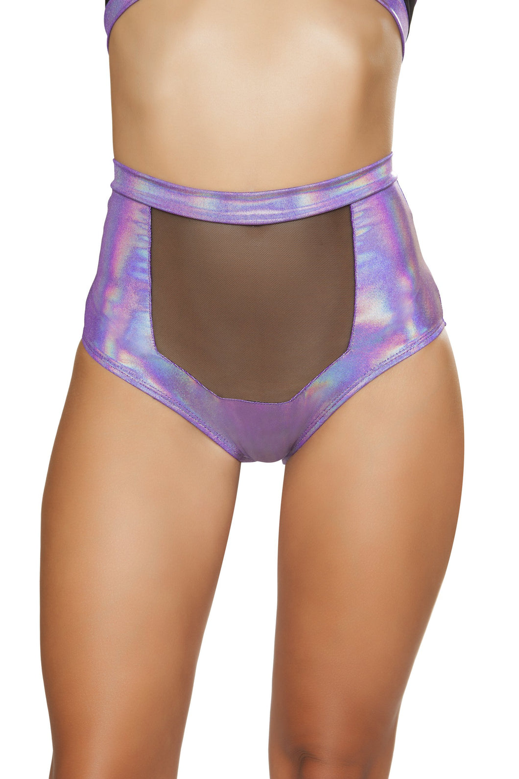 3610 - Purple - 1pc High-Waisted Short with Sheer Panel and Cross Back