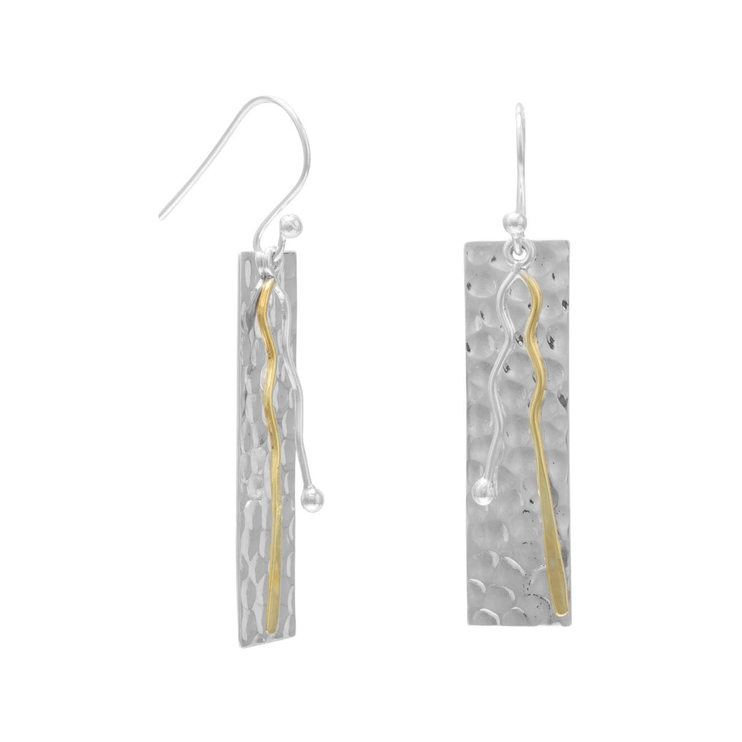Two Toned Bar Drop Earrings