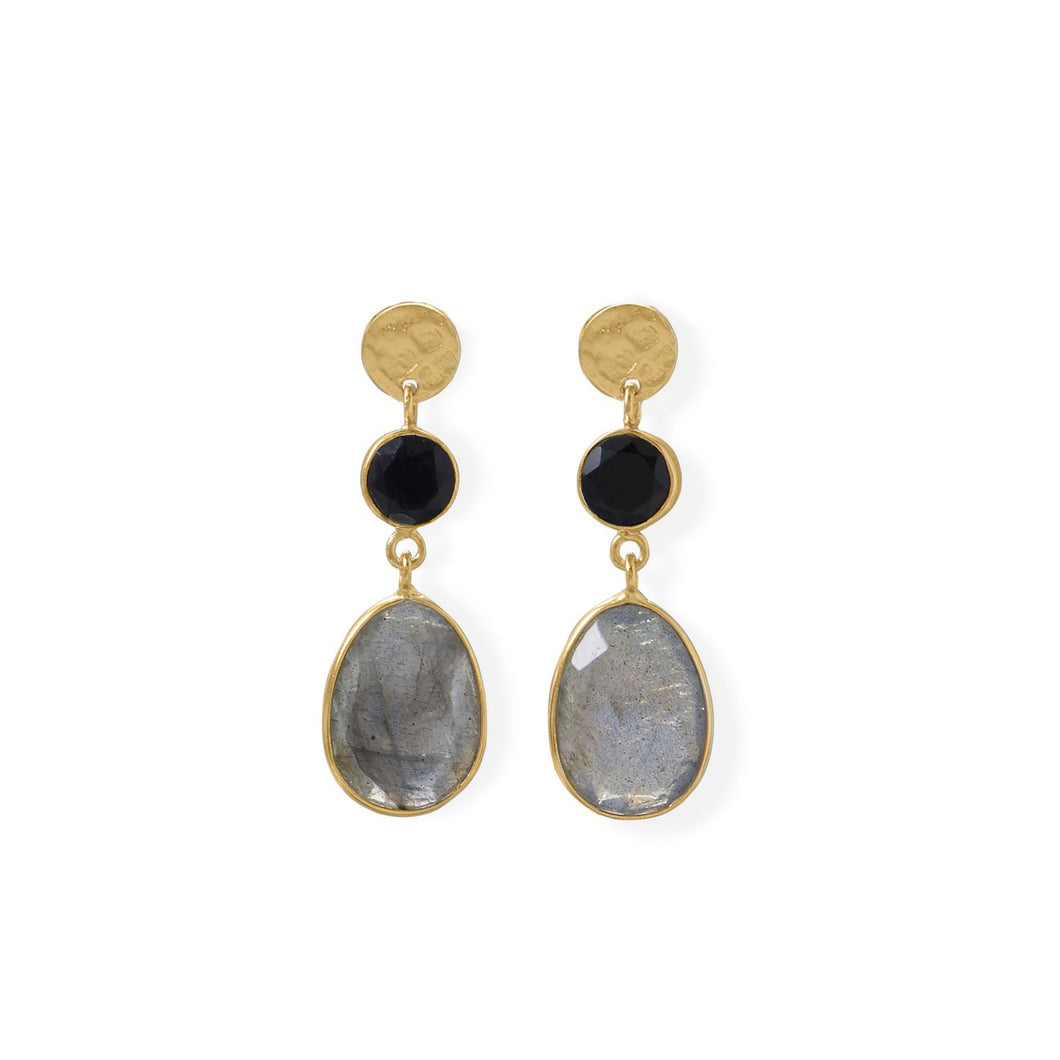 14 Karat Gold Plated Black Onyx and Labradorite Post Earring