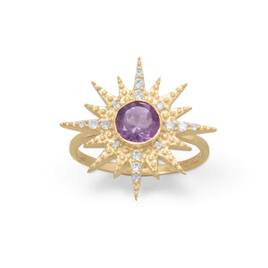 14 Karat Gold Plated CZ Sunburst with Amethyst Ring