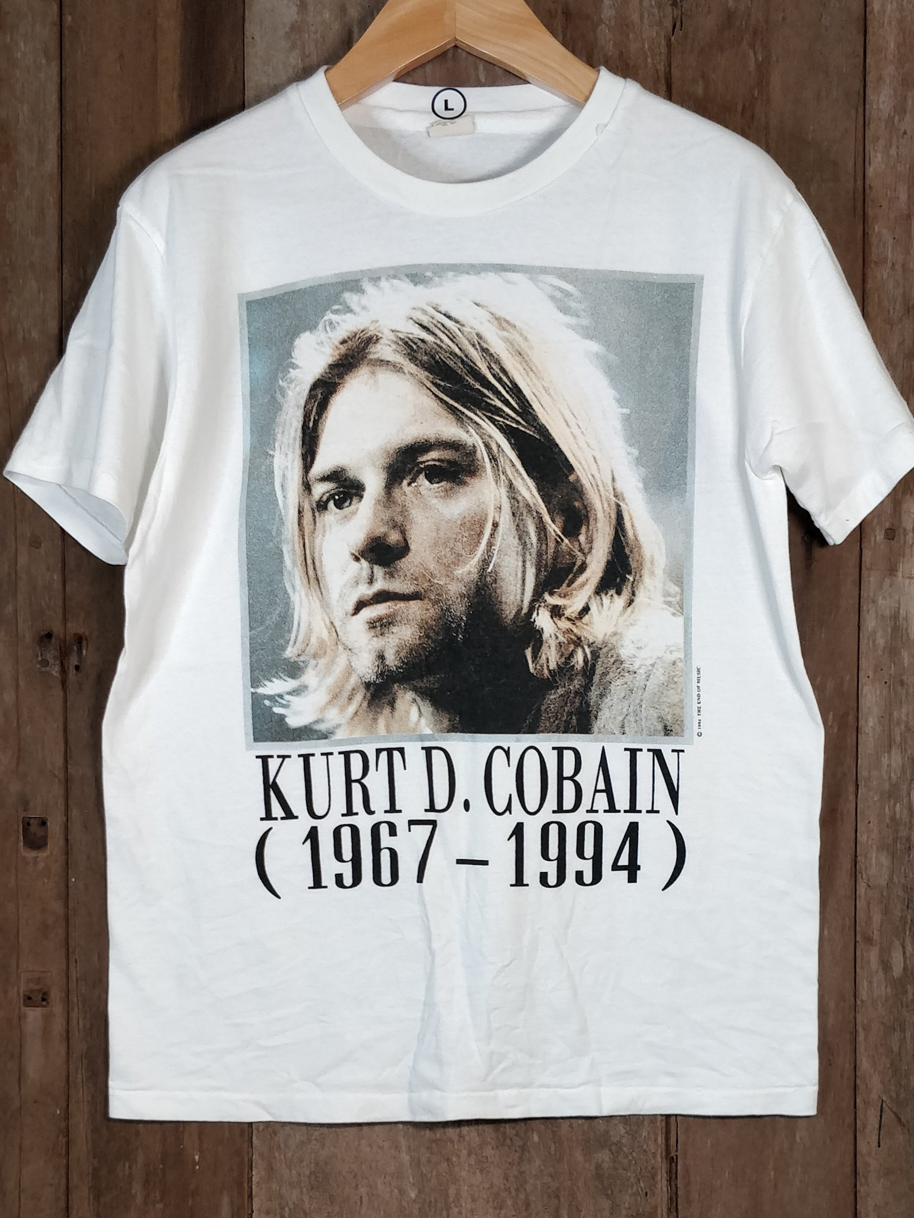 KURT COBAIN NIRVANA Men's Large Short Sleeve 100% Cotton New Vintage Band T Shirt