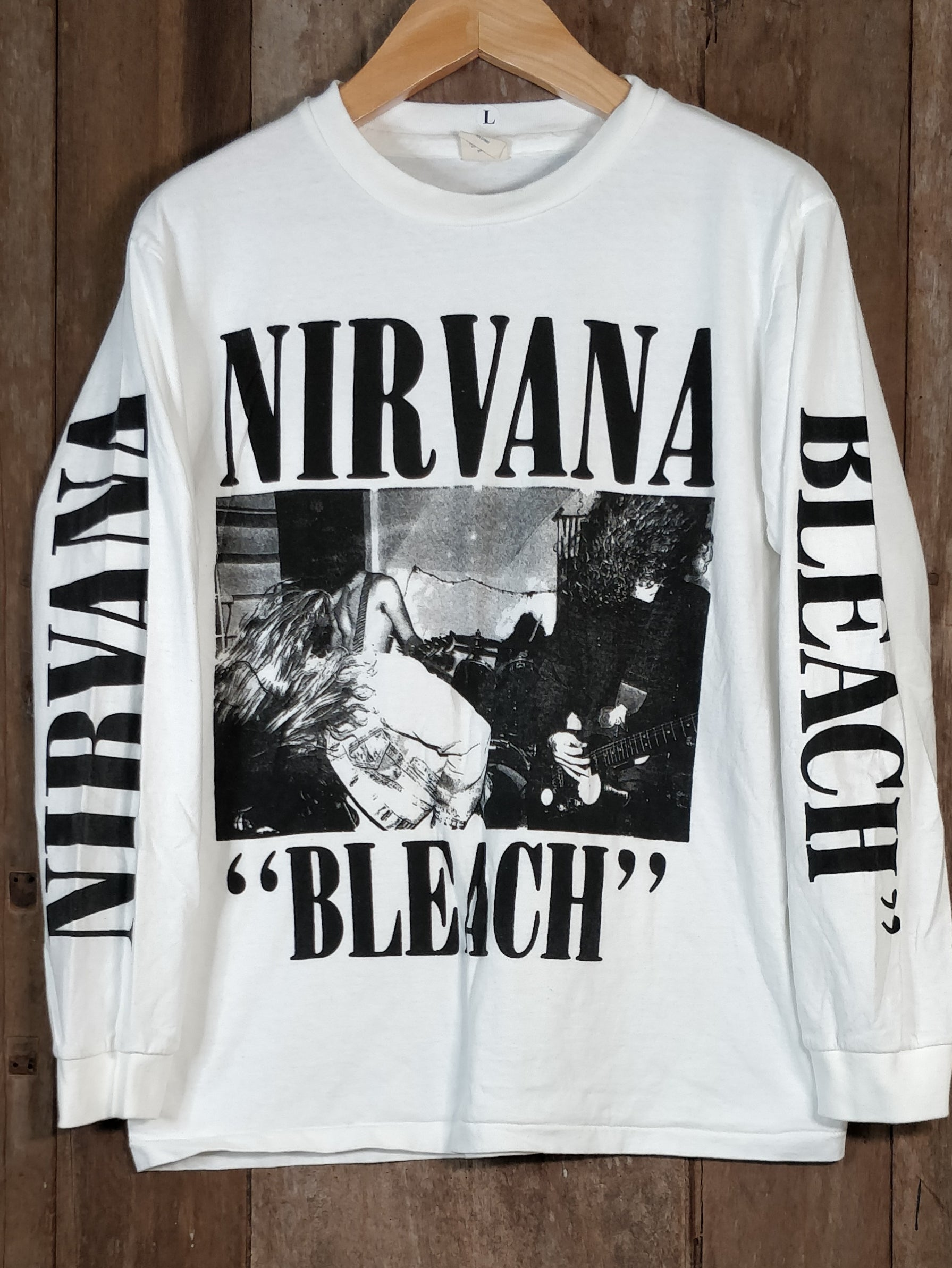 NIRVANA BLEACH Men's Large Long Sleeve 100% Cotton New Vintage Band T Shirt