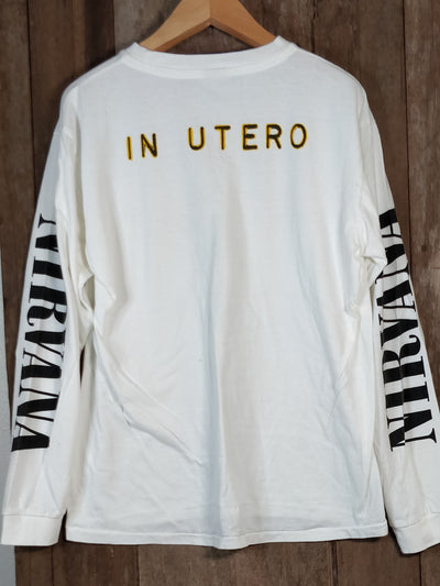 NIRVANA IN UTERO Men's Large Long Sleeve 100% Cotton New Vintage Band T Shirt