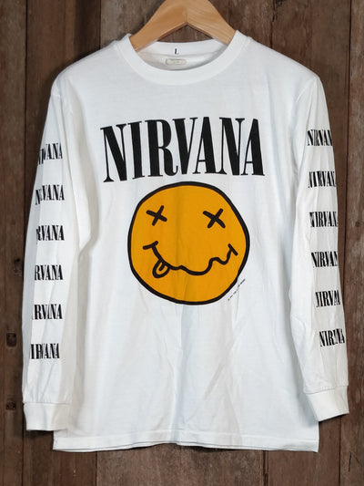 NIRVANA SMILEY Men's Large Long Sleeve 100% Cotton New Vintage Band T Shirt