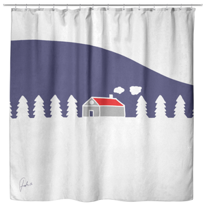 Home In White Forest | Cloth Shower Curtain