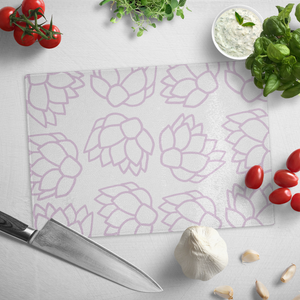 Pink Pastel Flowers | Glass Cutting Board