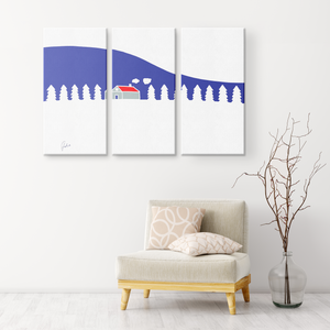 Home In White Forest | 3 Piece Canvas