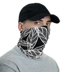 White Leaves on Black | Neck Gaiter