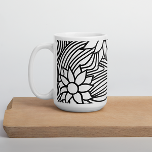 Black And White Flower Ornament | Mug