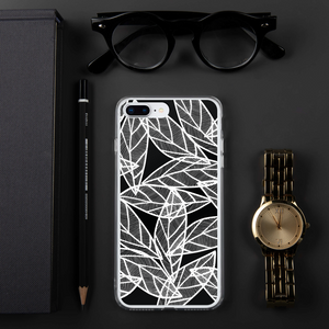 White Leaves on Black | iPhone Case