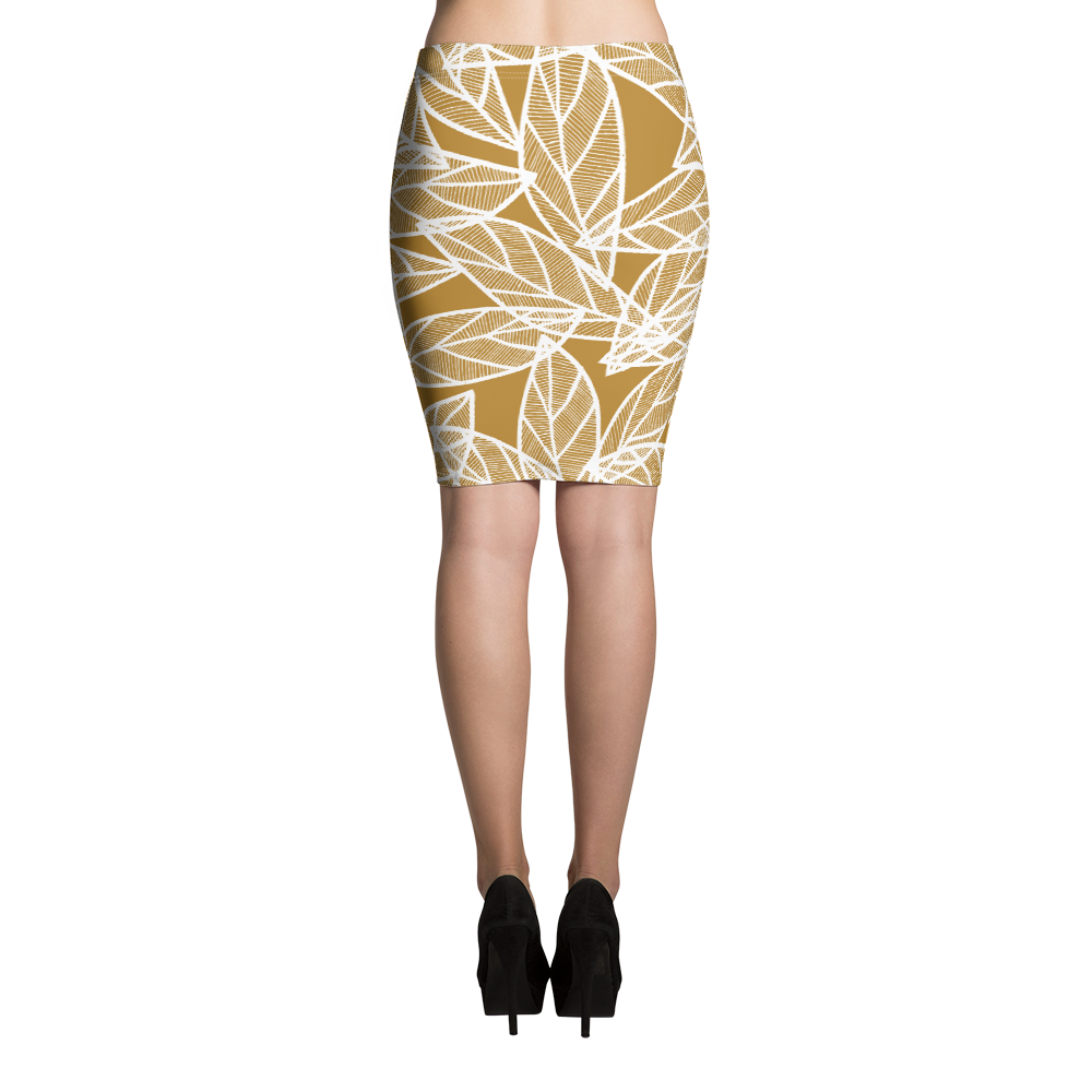 White Leaves on Gold | Pencil Skirt