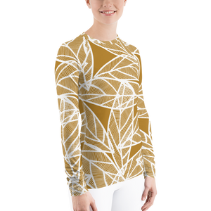 White Leaves on Gold | Women's Rash Guard