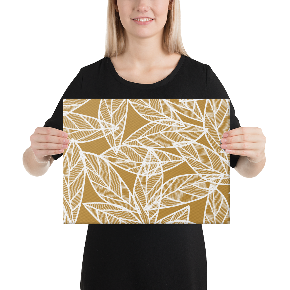 White Leaves on Gold | Canvas