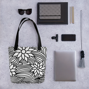 Black And White Flower Ornament | Tote Bag