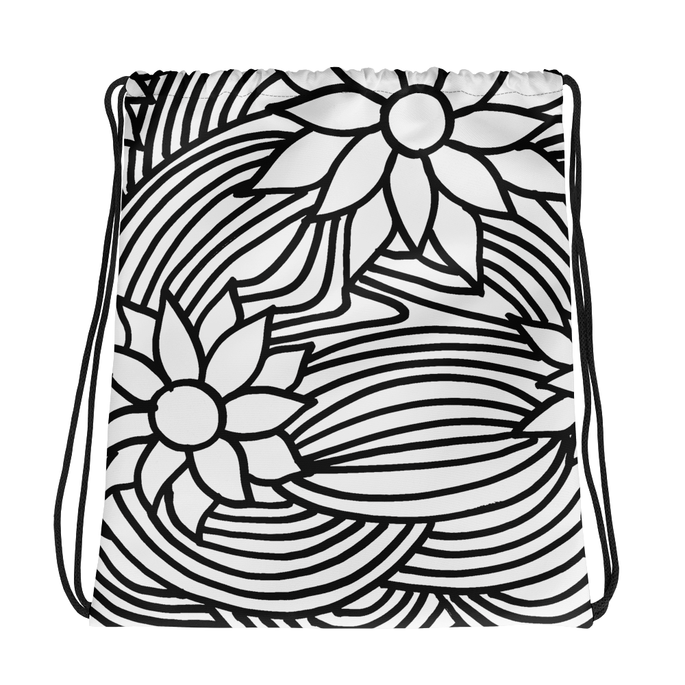 Black And White Flower Ornament | Drawstring Bag