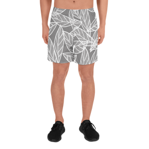 Messy White Leaves | Men's Athletic Long Shorts