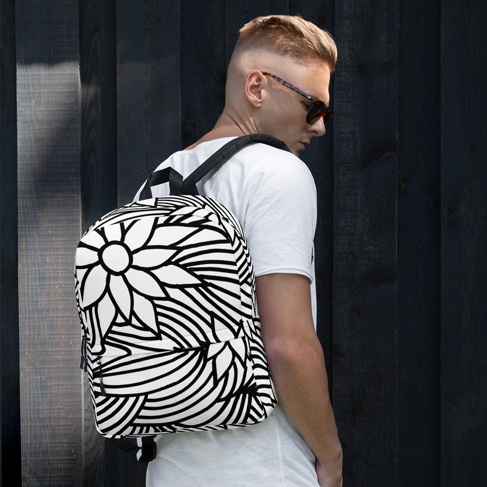 Black And White Flower Ornament | Backpack