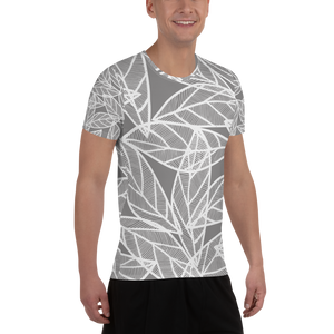 Messy White Leaves | Men's Athletic T-Shirt