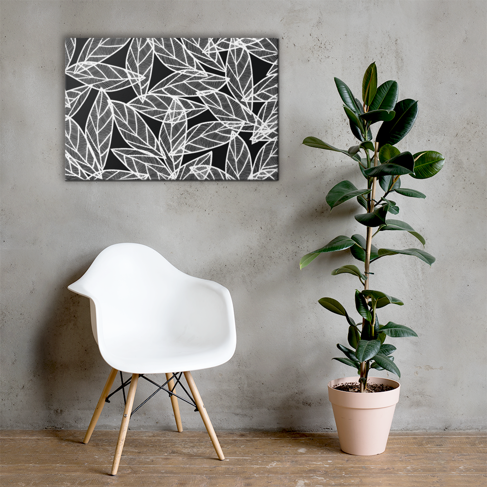 White Leaves on Black | Canvas