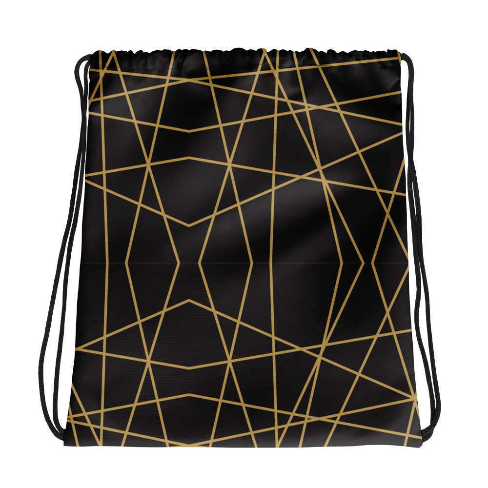Golden Ornament Lines | Drawstring Bag