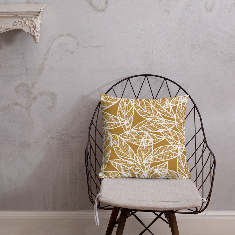 White Leaves on Gold | Pillow